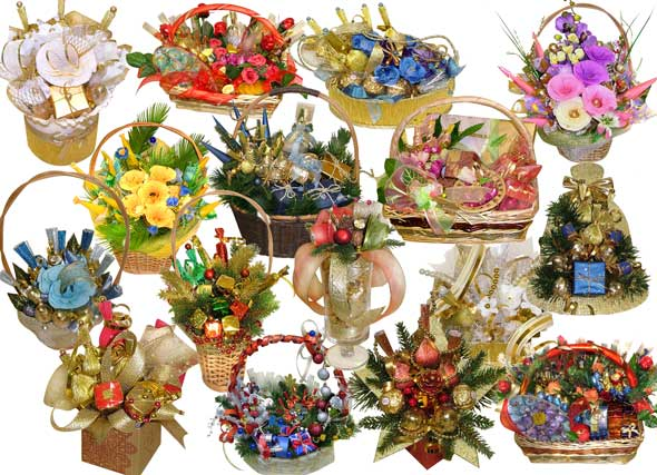 Psd flowers bouquets cliparts 16 separate layers 3425x2480