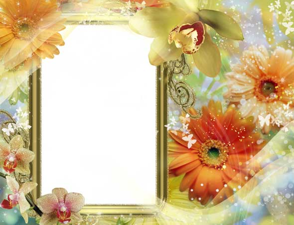Psd inspiration photo frame flowers 3425x2632