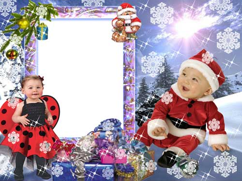Psd new year photo frame for children 2400x1800