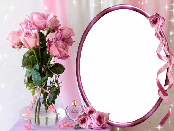 Psd photo frame template with roses 05 2362x1772