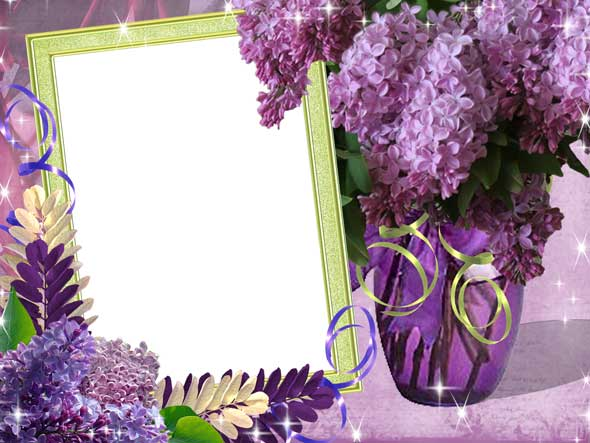 Psd photo frame with lilac flowers 2362x1772