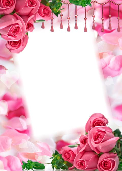 Psd romantic photo frame with roses 1772x2480