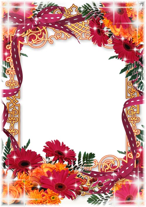 PSD.Frame.Red.Flowers.Bow.2480x3508